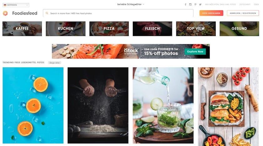 Lizenzfreie Bilder kostenlos - foodiesfeed website