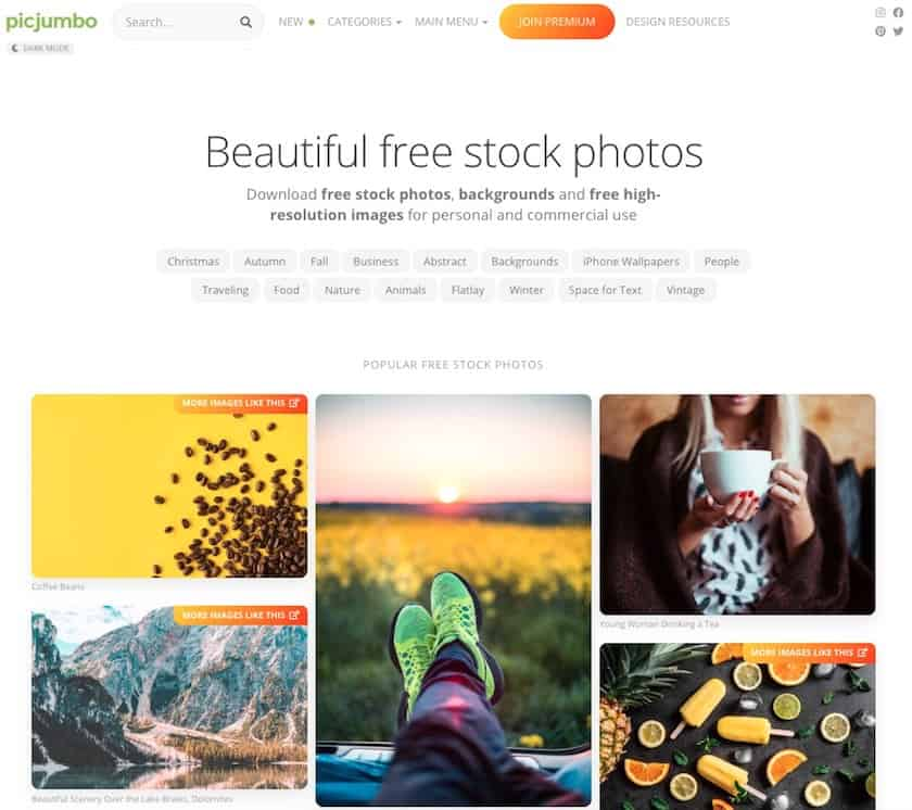 Lizenzfreie Bilder kostenlos - picjumbo website